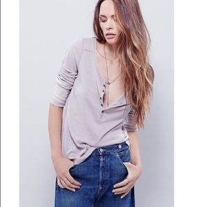 Free people Washed Cuff Henley Thermal